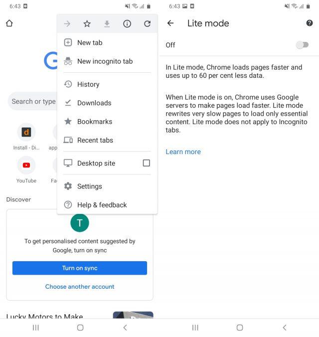 Data Usage Settings In Google Chrome